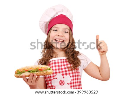 happy little girl with hot dog and thumb up