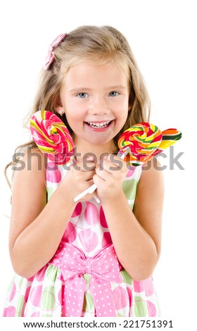 Happy little girl with lollipops isolated on a white background - stock photo