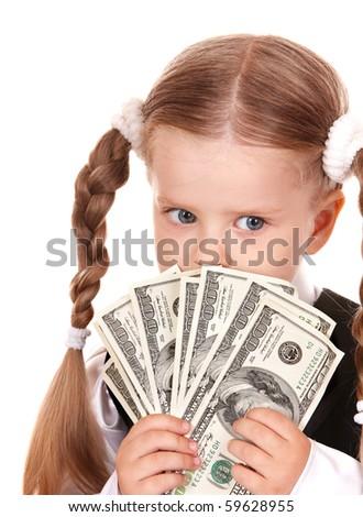 Happy little girl with money dollar. Isolated. - stock photo
