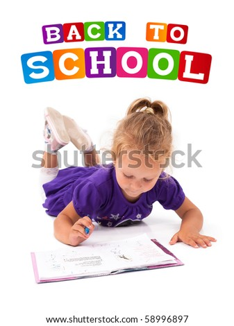 Happy little girl with notebook, back to school concept, isolated over white - stock photo