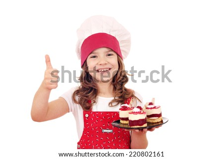 happy little girl with raspberry cake and thumb up - stock photo