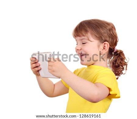 happy little girl with tablet pc on white - stock photo