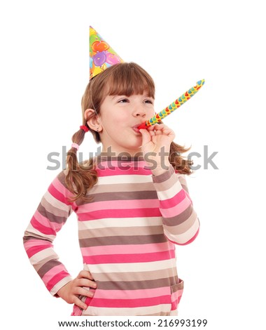 happy little girl with trumpet birthday party - stock photo