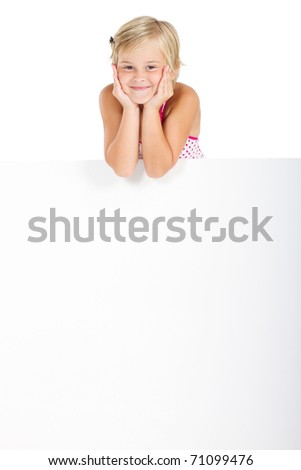 happy little girl with white board - stock photo