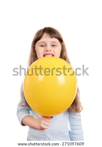 Happy Little Girl with Yellow Balloon Isolated on the white background - stock photo
