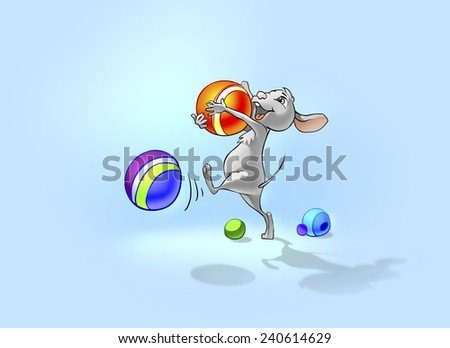Happy little mouse playing with balls. Illustration for tale about little mouse. - stock photo