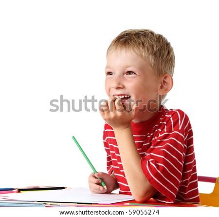 Happy little painter - stock photo