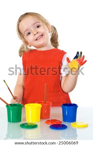 Happy little painter girl with smeary hand vawing - isolated - stock photo