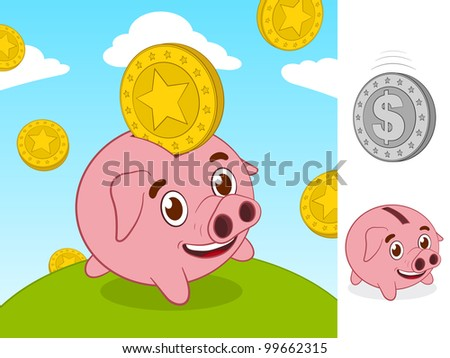 Happy little piggy bank and gold coin - stock photo