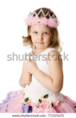 Happy little princess holding rose isolated on white