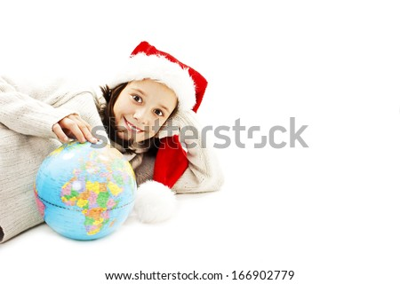 Happy little Santa with a globe. Isolated on white background - stock photo