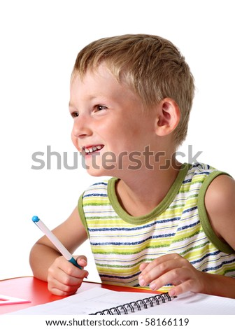Happy little school boy - stock photo