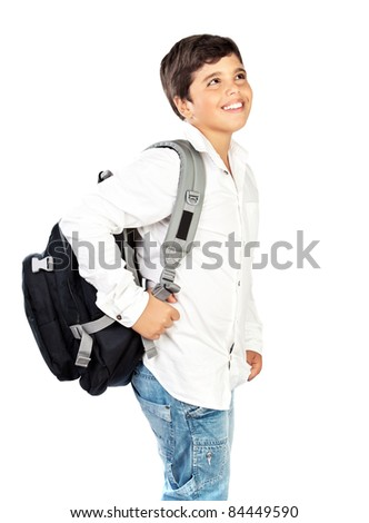 Happy little schoolboy smiling, beautiful preteen boy isolated on white background, kids back to school concept - stock photo