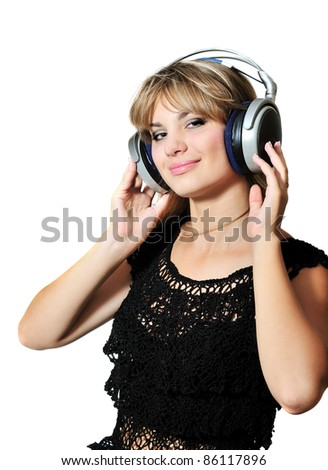 happy lovely teen girl dancing with headphones