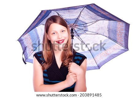 Happy lovely teen girl staying under umbrella and smiling