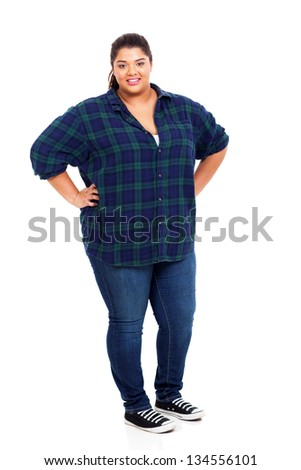 happy lovely woman standing over white background