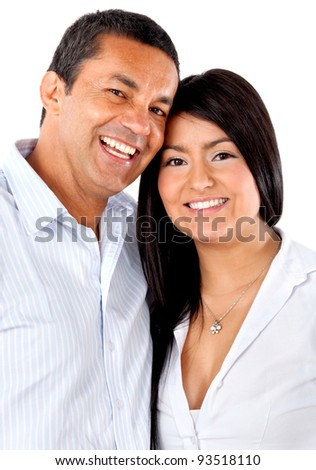 Happy loving couple hugging - isolated over a white background - stock photo
