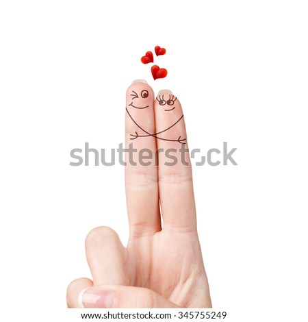 Happy loving fingers hugging isolated on white - stock photo