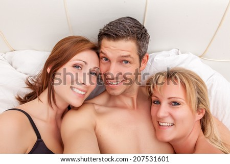 happy macho man enjoying open love - stock photo