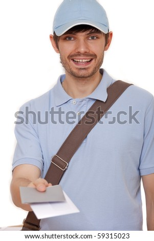happy mailman with letters on white background - stock photo