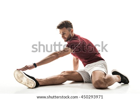 Happy male athlete doing exercise