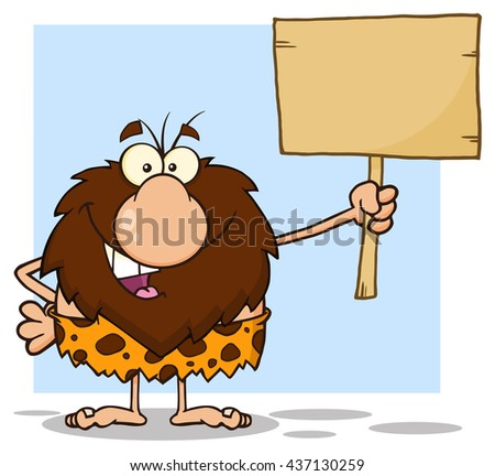 Happy Male Caveman Cartoon Mascot Character Holding A Wooden Board. Raster Illustration Isolated On White Background - stock photo