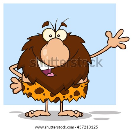 Happy Male Caveman Cartoon Mascot Character Waving For Greeting. Raster Illustration Isolated On White Background - stock photo