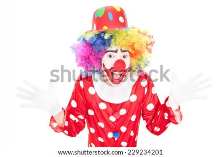 Happy male clown gesturing with hands isolated against white background - stock photo