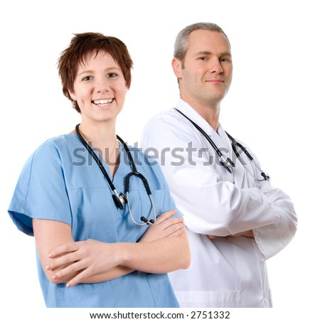 happy male doctor in lab coat on white - stock photo