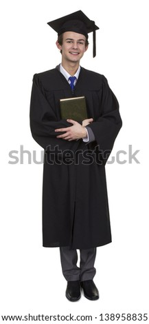 Happy Male Graduate With Book Isolated Over White Background