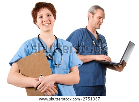 happy male nurse with wireless laptop on white