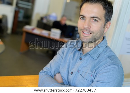 happy male office worker