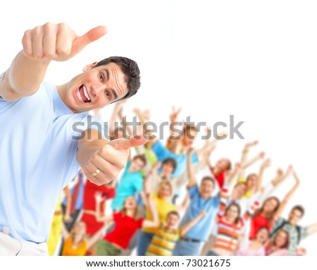 Happy man and  group of young dancing people - stock photo