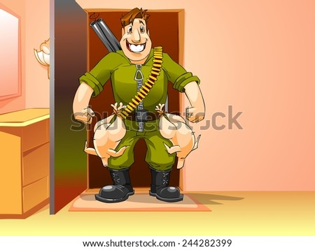 happy man came home from the hunt, cartoon illustration - stock photo