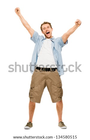 happy man celebrating arms up success - stock photo