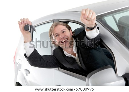 Happy man coming from a car?s window ? isolated over a white background - stock photo