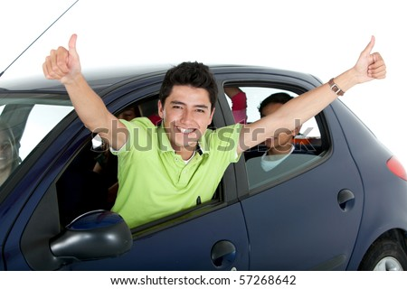 Happy man coming out of a car's window - isolated over a white background - stock photo