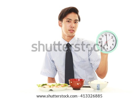 Happy man eating meals - stock photo