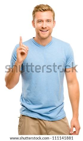 Happy man Has an idea portrait on white background - stock photo
