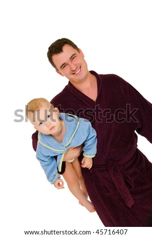 happy man hold his son isolated over white background