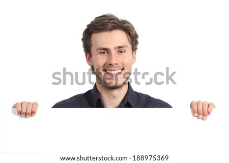 Happy man holding a blank banner isolated on a white background           - stock photo