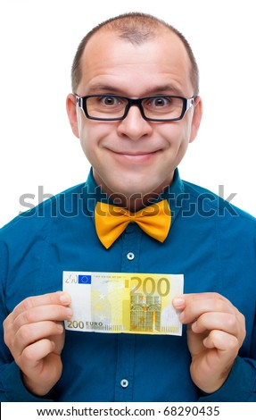 Happy man holding two hundred euros banknote isolated on white - stock photo