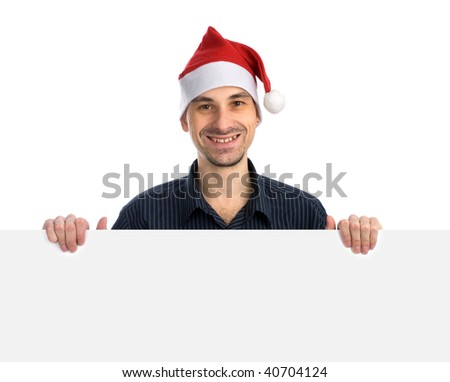 happy man in a Santa hat with Blank Sign