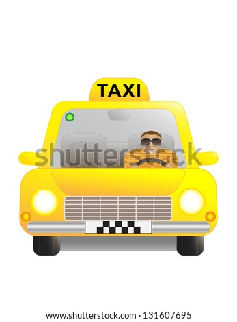 Happy man in a yellow taxi car.
