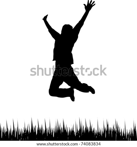 Happy Man Jumping - stock photo