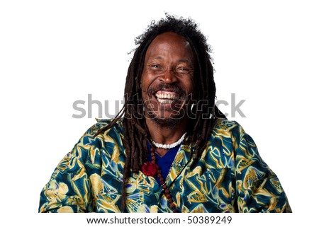 Happy man laughing hard, isolated against white - stock photo