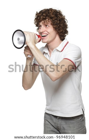 Happy man making announcement over a megaphone against white background - stock photo