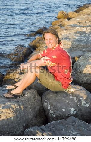 happy man on holiday. - stock photo