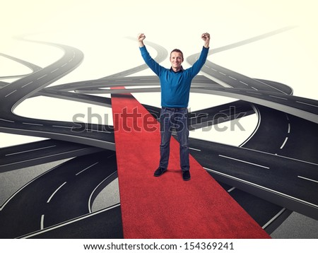 happy man on red carpet