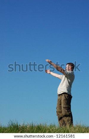 happy man on sky background